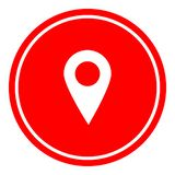 Ejemplo simple del vector del icono de la ubicación en fondo rojo imagen de archivo libre de regalías