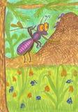 Ejemplo sobre la vida de hormigas en el bosque stock de ilustración