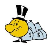 Ejemplo sonriente de la historieta del dinero de los bolsos del banquero de las emociones del carácter ilustración del vector