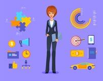 Ejemplo sonriente del vector de la mujer de negocios de stock de ilustración