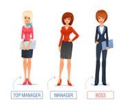 Ejemplo sonriente del vector de la mujer de negocios de ilustración del vector