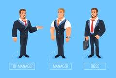 Ejemplo sonriente del vector del hombre de negocios de la historieta stock de ilustración
