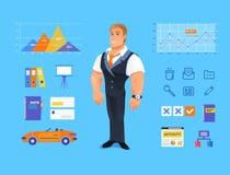 Ejemplo sonriente del vector del hombre de negocios de la historieta ilustración del vector