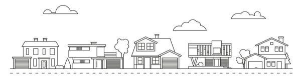 Ejemplo suburbano del vector de la vecindad ilustración del vector