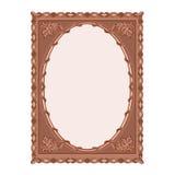 Ejemplo tallado del vector de la hoja del roble del marco de madera Fotos de archivo libres de regalías