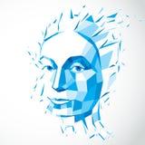 Ejemplo tecnológico moderno de la personalidad, vector del azul 3d Imagen de archivo libre de regalías