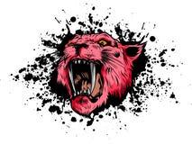 Ejemplo Tiger Eyes Mascot Graphic del vector en el fondo blanco stock de ilustración