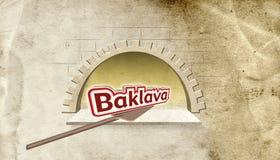 Ejemplo; Tipografía de piedra de Oven Bakery y del Baklava Deletreo turco Fotografía de archivo libre de regalías