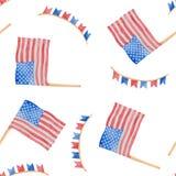 Ejemplo 4to de la acuarela del D?a de la Independencia de julio en los E.E.U.U. stock de ilustración