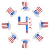 Ejemplo 4to de la acuarela del D?a de la Independencia de julio en los E.E.U.U. ilustración del vector