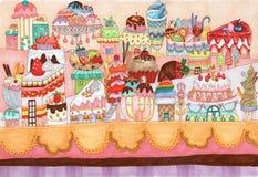Ejemplo tradicional de la ciudad del postre Stock de ilustración