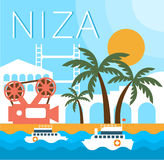 Ejemplo tradicional del vector del paisaje de Niza Imagen de archivo libre de regalías