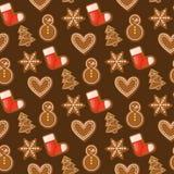 Ejemplo tradicional dulce del vector de la galleta del postre del caramelo de la comida del día de fiesta del modelo inconsútil d libre illustration