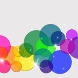 Ejemplo translúcido de los círculos coloreados del arco iris Fotos de archivo