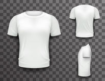 Ejemplo transparente del vector del fondo del icono realista del diseño 3d de Front Side Back View Template de la camiseta Imágenes de archivo libres de regalías
