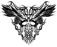 Ejemplo tribal de los cráneos y de las alas Foto de archivo libre de regalías
