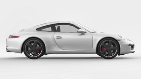 Ejemplo tridimensional de la trama de Porsche 911 blancos en un fondo blanco representación 3d stock de ilustración