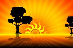Ejemplo tropical de la puesta del sol ilustración del vector