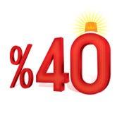 Ejemplo turco del porcentaje 40 de la escala del descuento Foto de archivo