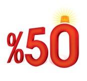 Ejemplo turco del porcentaje 50 de la escala del descuento Foto de archivo libre de regalías
