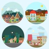 Ejemplo urbano del paisaje del diseño plano día y noche stock de ilustración