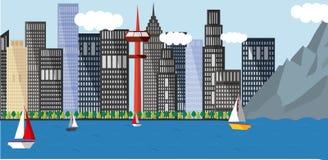 Ejemplo urbano del paisaje del diseño plano Fotografía de archivo libre de regalías