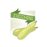 Ejemplo vegetal del vector de la insignia de la col o del calabacín stock de ilustración