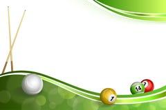 Ejemplo verde abstracto de la bola de taco de billar del billar del fondo Fotos de archivo libres de regalías