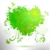 Ejemplo verde de la acuarela del dibujo de la mano de la ecología Imágenes de archivo libres de regalías