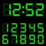 Ejemplo verde de los dígitos del reloj Foto de archivo libre de regalías