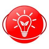 Ejemplo verde del vector del bulbo de la energía, icono rojo Imagen de archivo