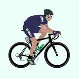 Ejemplo verde Profundo-azul del ciclista del vector que compite con Imágenes de archivo libres de regalías