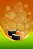 Ejemplo vertical anaranjado de la cinta del oro del marco del verde amarillo del sushi abstracto de la comida del fondo Fotografía de archivo