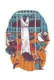 Ejemplo vertical con el interior del guardarropa de la mujer con el vestido en el maniquí, mano dibujada con el gráfico blanco y  libre illustration