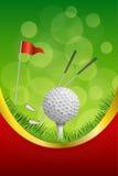 Ejemplo vertical de la cinta del oro del golf del fondo del deporte de la bola de la bandera roja del marco blanco verde abstract Foto de archivo