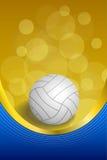 Ejemplo vertical del marco del voleibol del fondo de la bola de la cinta blanca amarilla azul abstracta del oro Imagen de archivo