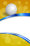 Ejemplo vertical del marco del voleibol del fondo de la cinta blanca amarilla azul abstracta de la bola Foto de archivo