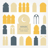 Ejemplos árabes de la puerta y de la ventana Foto de archivo libre de regalías