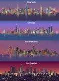 Ejemplos abstractos de los horizontes urbanos de la ciudad de Estados Unidos en la noche Fotos de archivo libres de regalías