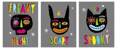 Ejemplos abstractos dibujados mano divertida del vector de Halloween libre illustration