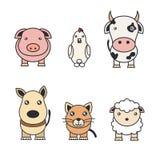 Ejemplos de color de animales en una granja y de animales domésticos ilustración del vector