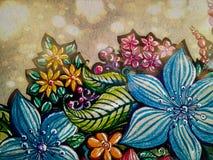 Ejemplos de flores coloridas con una pluma del lápiz y del gel ilustración del vector