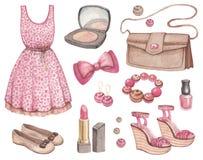 Ejemplos de la acuarela de la moda Foto de archivo libre de regalías