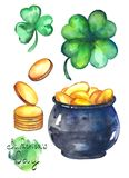 Ejemplos de la acuarela para el día del ` s de St Patrick Foto de archivo