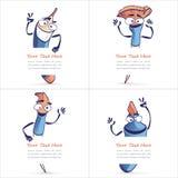 Ejemplos de la historieta de Art Tools con un trozo de papel en blanco Fotografía de archivo