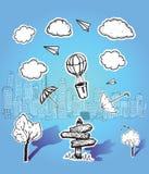 Ejemplos de la nube y del paisaje urbano del poste indicador Imagen de archivo libre de regalías