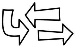 Ejemplos de las flechas de la historieta de la diversión ilustración del vector