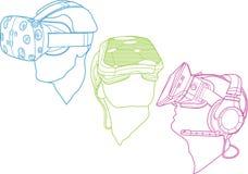 Ejemplos de los cascos de la realidad virtual Imagen de archivo