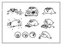 Ejemplos de los cerdos de la historieta Vector estilo plano del esquema Para los peritos verdaderos de la animación Cerdo musical ilustración del vector