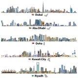 Ejemplos de los horizontes de Dubai, de Abu Dhabi, de Doha, de Riad y de la ciudad de Kuwait con las banderas y los mapas ilustración del vector